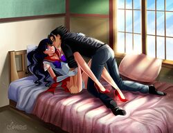 1boy 1girl all_fours art ass_grab bare_legs bed bishoujo_senshi_sailor_moon black_hair choker cloveras couple elbow_gloves eyes_closed female gloves heart high_heels highres human in_bed incipient_kiss legs looking_at_another love lying male necklace on_back original_character panties pantyshot pantyshot_(lying) pillow purple_eyes purple_hair rei_hino room sailor_mars shoes skirt smile straight super_sailor_mars teeth upskirt white_gloves wince window