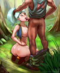 aqua_hair ass blue_eyes blush bottomless breasts bulma_briefs cum cum_in_mouth cum_inside dark-skinned_male dark_skin dragon_ball fellatio female hair_grab interracial kadavre kneeling long_hair male nature nipples oral outdoors penis_grab red_ribbon_army solo_focus vest