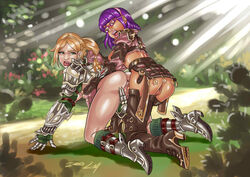 armor belt big_ass blonde_hair boots doggy doggy_style female final_fantasy final_fantasy_xiv forest futa_on_female futanari gauntlets glasses gloves green_eyes hair_pull headband horny light_skin lyndra metal_gloves open_mouth outfit psicoero purple_hair ring rings shirt skirt socks symilde thigh_highs thighhighs vaginal_penetration