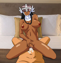 angewomon breasts cowgirl_position cum cum_in_pussy dark-skinned_female dark_skin digimon female head_wings headgear helmet interracial large_breasts sex uncensored