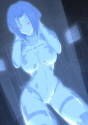 absurdres arms_up blue_hair blue_skin bob_cut breasts cortana dutch_angle fatelogic female halo_(series) hands_behind_head highres hologram large_breasts looking_at_viewer microsoft narrow_waist navel nipples nude parted_lips pose purple_eyes pussy short_hair smile solo translucent_hair