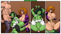 absorbing_man big_breasts bondage breasts color comic cunninlingus deuce fellatio forced forced_oral marvel oral rape restrained she-hulk straight torn_clothes uncensored