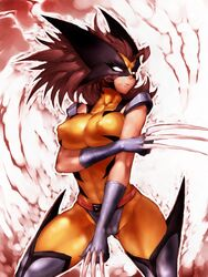 bodysuit boots breast_press brown_hair cameltoe claws erect_nipples female fumio_(rsqkr) genderswap gloves large_breasts long_hair marvel mask rule_63 solo standing thigh_boots tight_clothes wolverine x-men