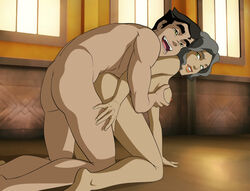 age_difference avatar_the_last_airbender bolin breast_grab breasts doggy_style female from_behind green_eyes grey_hair male mistermultiverse nipples nude sex short_hair smile suyin_bei_fong the_legend_of_korra