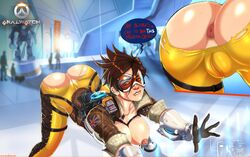 anus ass bent_over biting_lip bodysuit breasts brown_hair cameltoe comic dat_ass female gloves goggles jacket large_breasts nipples overwatch pussy shadman short_hair solo therealshadman thigh_strap torn_bodysuit torn_clothes tracer