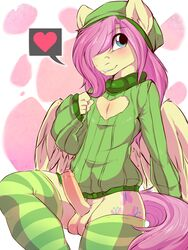 2014 abstract_background anthro anthrofied balls blush clothed clothing cutie_mark equine fluttershy_(mlp) friendship_is_magic fur girly hair hair_over_eye hat heart legwear long_hair male mammal my_little_pony pegasus penis pink_hair precum rainbowscreen rule_63 smile solo striped_legwear thigh_highs uncut wings yellow_fur