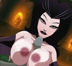animated areola beauty_mark black_eyes black_hair black_lipstick breasts close-up detached_sleeves female half-closed_eyes huge_areola huge_breasts large_areola large_breasts large_penis lipstick long_hair looking_at_viewer male_pov mole paizuri pale_skin penis perky_breasts smile titjob uncensored