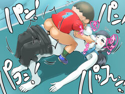 animal_crossing ass black_hair blush boris_(noborhys) breasts clothed_sex doubutsu_no_mori happy_sex large_breasts super_smash_bros. text villager wii_fit wii_fit_trainer