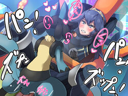 1boy 1girl ambiguous_gender blue_hair blush boris_(noborhys) canine charizard clothed_sex crossover crown dragon fire_emblem flame furry human interspecies lucario lucina missionary nintendo pokemon pokephilia scalie sex super_smash_bros. text