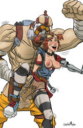 areola balls blush borderlands borderlands_2 breasts exposed_breasts gaige gasmask genital_piercing holding_leg krieg large_penis leaning legs_spread muscular nipples open_mouth penis pussy red_hair size_difference standing stickymon thighhighs torn_clothing twintails vaginal_penetration
