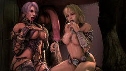 2girls 3d after_sex blonde_hair breasts cleavage cum cum_on_breasts cum_on_face cum_on_hand cum_on_thighs cum_on_tongue cum_taste cumshot dress facial female flaccid horse horsecock huge_balls huge_cock human interspecies isabella_valentine large_breasts long_hair nipples noname55 open_mouth short_hair sophitia_alexandra soul_calibur source_filmmaker tongue tongue_out underboob white_hair zoophilia