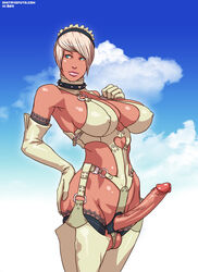 blue_eyes choker cleavage dickgirl dmitrys elbow_gloves erection futa_solo futanari gloves large_breasts large_penis penis short_hair standing testicles thigh_boots white_hair