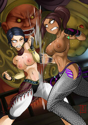 2girls absurdres angry armband bangle black_hair blood brazilian breasts bridal_gauntlets brown_eyes brown_hair capri_pants christie_monteiro clenched_teeth dark_skin detached_collar earrings female fighting fingerless_gloves gloves human hzblunte motion_blur multiple_girls namco navel nipples ponytail purple_eyes side_slit sweat tekken tied_hair toned topless wince zafina
