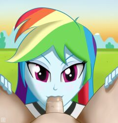 blue_skin burstfire clothed_female_nude_male equestria_girls fellatio female friendship_is_magic light_skin looking_at_viewer male male_pov multicolored_hair my_little_pony penis pov purple_eyes rainbow_dash_(mlp) smile spread_legs straight uncensored