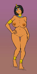 armband armlet barefeet breasts brown_eyes choker circlet earrings egyptian eyes_shadow feet female hand_on_hip large_breasts legend_of_queen_opala mole navel nipples nude pussy queen_opala solo sparrow standing thigh_gap