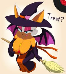 2014 absurd_res anthro aqua_eyes areola bat between_breasts big_breasts breasts broom candy cleavage clothed clothing elbow_gloves erect_nipples female flashing from_above green_eyes hat hi_res huge_breasts lollipop looking_at_viewer mammal marthedog nipples partially_clothed rouge_the_bat sega sitting smile solo sonic_(series) wings witch_hat