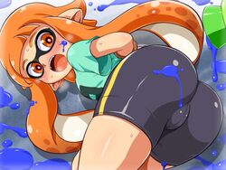 arms_behind_back artist_request ass bike_shorts blush bondage bound cameltoe domino_mask gun ink inkling lying nintendo open_mouth orange_eyes pointy_ears splatoon surprised sweat tied_up wii_u