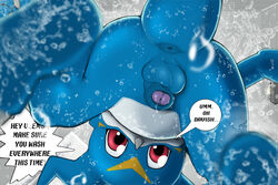 anthro anus ass balls barefoot bath bathroom claws close-up dat_ass dialog digimon dragon english_text foreskin horn looking_at_viewer looking_down male narse nude penis sharp_claws solo spread_legs text toe_claws uncut veemon water wet