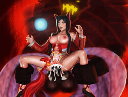 ahri animal_ears breasts cum cum_in_pussy large_breasts league_of_legends malphite multiple_tails sex tail vaginal_penetration