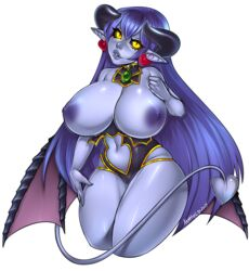 astaroth_(shinrabanshou) black_sclera blue_hair blue_skin blush breasts cropped_legs demon_girl demon_tail detached_collar earrings female glowing glowing_eyes head_tilt huge_breasts jewelry leotard long_hair navel_cutout parted_lips penis pointy_ears shinrabanshou shiny shiny_skin simple_background slit_pupils tail transparent_background wings xenthyl yellow_eyes