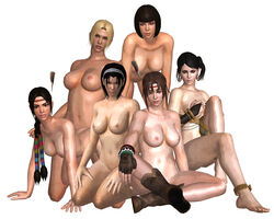 3d 6girls all_fours ankle_bracelet anna_williams areola areolae arms_at_sides black_hair blonde_hair blue_eyes bob_cut boots bracelet braided braided_ponytail braided_twintails braids breasts brown_boots brown_eyes brown_gloves brown_hair covering_breasts dejavue89 earrings erect_nipples feathered_headband feathers hand_on_knee hands_on_thighs hazel_eyes headband indian_style jewelry julia_chang kazama_jun legs long_hair medium_breasts michelle_chang mother_and_daughter namco navel nina_williams nipples nude nude_filter on_all_fours on_hands_and_knees on_knees ponytail short_hair sisters sitting sitting_down smile stomach tekken tekken_tag_tournament_2 thighlet thighs white_background zafina