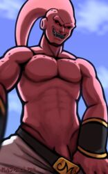 1boy abs anthro clothing dragon_ball_z half-dressed looking_down majin_buu male manly muscles open_mouth outside pants pecs penis plus5pencil sharp_teeth smile solo standing