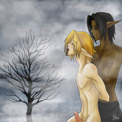2boys blonde_hair blush boots dark_hair dark_link elf grapecore link male naked ocarina_of_time outdoors outside penis the_legend_of_zelda uncensored yaoi