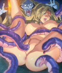 anus bianca blonde_hair blue_eyes breasts censored dragon_quest dragon_quest_v earrings female homare_(fool's_art) large_breasts monster penis pussy rape tentacle vaginal_penetration