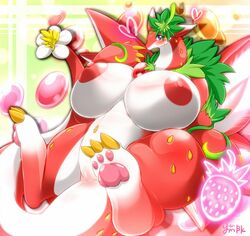 big_breasts blush breasts chubby claws dragon female flora_fauna heart huge_breasts mammal nipples pawpads paws pussy puzzle_&_dragons red_body red_sky_fruit_strawberry_dragon solo toe_claws video_games white_body wings ymbk