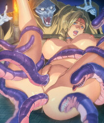 anal anus bianca blonde_hair blue_eyes breasts censored double_penetration dragon_quest dragon_quest_v earrings female homare_(fool's_art) large_breasts monster penis pussy rape tentacle vaginal_penetration