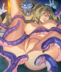 anal anus bianca blonde_hair blue_eyes breasts censored dragon_quest dragon_quest_v earrings female homare_(fool's_art) large_breasts monster penis pussy rape tentacle