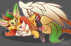 :o anthro balls barefoot blush braixen canine cum cum_in_pussy cum_inside cum_on_penis cum_on_pussy erection feathers female fennec fur leafeon looking_back looking_down looking_up lying male nintendo nude on_side orgasm original_character pawpads paws penis pokemon pussy raised_leg sex size_difference smile spread_legs stick straight vaginal vaginal_sex video_games whimsydreams wings