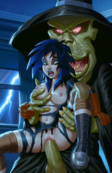 black_eyes black_gloves black_hair boots breasts extreme_ghostbusters eyeshadow grundel kylie_griffin monster nipples sex tagme torn_clothes vaginal_penetration wicka