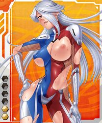 erect_nipples female female lilith-soft nipples open_mouth purple_eyes sweat tagme taimanin_asagi_battle_arena torn_clothes white_hair zol