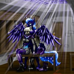 2013 alicorn anthro anthrofied armor bat_pony bat_wings bench blue_hair boots breasts cutie_mark door duo equine female friendship_is_magic hair headgear helmet horn hug mammal metalfoxxx my_little_pony night nipples nude princess_luna_(mlp) pussy royal_guard_(mlp) sitting skylight sparkles star table tail_wrap thestral white_hair wings yellow_eyes