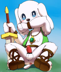 anthro balls canine dog doraemon erection fur furry hono-bu_bebe male mammal peko penis solo solo_male sword weapon