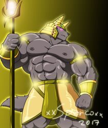 2017 abs anthro anubian_jackal anubis armband armor biceps big_muscles canine deity egyptian glowing glowing_eyes helmet invalid_tag jackal male mammal muscular muscular_male navel nipples pecs purple_eyes solo staff xxsparcoxx