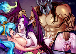 2girls anal anal_sex ass blue_hair breasts brown_hair cum_in_ass female glowing_eyes hair headgear helmet large_breasts league_of_legends male mordekaiser morgana nipples nude penis pointy_ears purple_hair saliva_trail sex sona tattoo threesome velvetqueenh wings