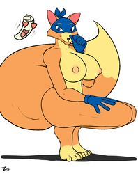 bandana big_breasts blue_eyes breasts canine dora_the_explorer female fox gloves heart large_breasts looking_at_viewer mammal map nipples paper rule_63 smile swiper swiper_the_fox toes zp92
