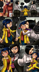 3girls aroused ass black_hair blue_hair blush comic coraline coraline_jones female food freckles heart holding_hands incest kissing large_ass licking mel_jones mother_and_daughter multiple_females other_mother shadman short_hair sweater tight_clothes
