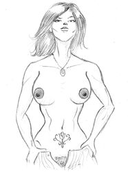 abs areola areolae black_and_white breasts erect_nipples female katarina_alves long_hair namco necklace nipples pants pookieart pubic_hair puffy_nipples rose_tattoo simple_background sketch solo standing stomach striped_pants tattoo tekken tekken_7 unbuttoned unbuttoned_pants undressing