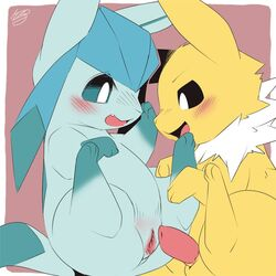 1boy 1girl animal_genitalia animal_penis ass black_eyes blue_eyes blue_fur blush canine canine_penis duo eeveelution erection fang feet female furry glaceon imminent_sex jolteon kesu_pu legs_up long_ears looking_down male nintendo no_nipples nude paws penis pokémon_(species) pokemon pokemon_dppt pussy red_background smile straight tail teeth testicles text tongue urethra video_games watermark white_border white_fur yellow_fur