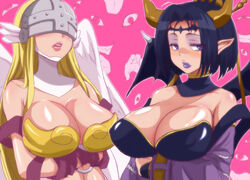 2girls angel angel_wings angewomon artist_request bare_shoulders blonde_hair breasts busty cleavage demon_girl demon_horns demon_wings digimon eyeshadow female ghisi hair headgear helmet horn large_breasts lilithmon lipstick makeup monster_girl multiple_girls pointy_ears special_g_(spg) straight succubus voluptuous winged_helmet wings