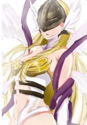 angel_wings angewomon bare_shoulders belt blonde_hair breasts cleavage digimon female hair headgear helmet highres large_breasts long_hair multiple_wings navel o-ring simple_background very_long_hair winged_helmet wings
