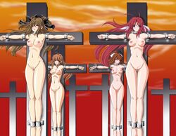 4girls ahoge antenna_hair armpits barefoot black_eyes blush bondage breasts brown_hair censored closed_eyes cross crucifixion crucifixion_knights crucifixion_knights~haritsukerareshi_otometachi~ feet female fuchi hair_ribbon hips jpeg_artifacts legs long_hair looking_at_viewer multiple_females navel nipples nude open_mouth original outstretched_arms public pussy ribbon sankaku_doumei sky source_request zenra