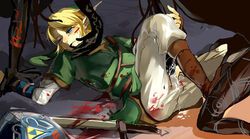 1boy blonde_hair blood blue_eyes blush boy_rape cum cum_on_body cum_on_self group_sex hat injury legs_held_open link male male_only monster monster_on_male nintendo on_back pointy_ears rape restrained sex shield sword tentacle tentacle_on_male tentaclejob the_legend_of_zelda threesome torn_clothes twilit weapon yaoi