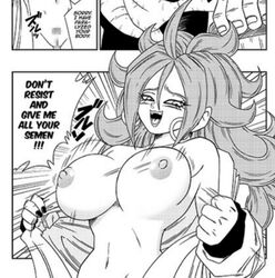 android_16 android_21 big_breasts bouncing_breasts curly_hair dragon_ball dragon_ball_fighterz erect_nipples female long_hair yamamoto