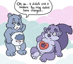 after_sex balls bear blue_balls care_bears chubby cloudscape dialogue duo english_text flaccid flat_colors grumpy_bear hand_behind_head looking_away male_only mammal moobs nude penis sitting sky speech_bubble spiral_eyes standing text transformation