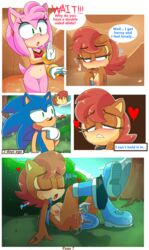 2018 amy_rose anthro anus blue_eyes blush bottomless breasts brown_fur brown_hair chipmunk cleavage closed_eyes clothed clothing comic dialogue dildo double_dildo english_text female fur gloves green_eyes hair hearlesssoul heart hedgehog hidden legs_up mammal navel nipples open_mouth partially_clothed penetration pink_fur pink_hair public_masturbation pussy pussy_juice pussy_juice_drip red_hair rodent saliva sally_acorn sex sex_toy sonic_(series) sonic_the_hedgehog spread_legs spreading sweat text tongue tongue_out undressing vaginal_penetration