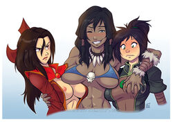 3girls abs avatar_the_last_airbender azula bikini bikini_top black_hair blue_eyes blush breast_grab breasts brown_eyes brown_hair cleavage dalehan dark_skin female female_only green_eyes human jin_(avatar) korra large_breasts long_hair multiple_females navel necklace nipples ponytail redraider91 smile the_legend_of_korra wink yuri